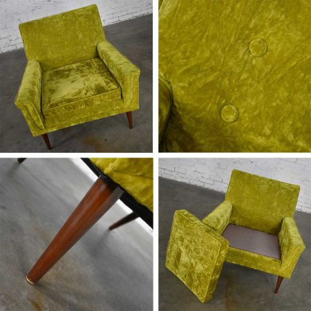 Mid-Century Modern Chartreuse Crushed Velvet Lounge Club Chair Style of Paul McCobb