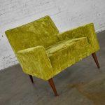 Mid-Century Modern Chartreuse Crushed Velvet