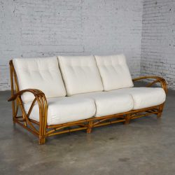 Vintage Heywood Wakefield Rattan Sofa New Off-White Canvas Upholstery