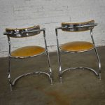 Streamlined Reversed Cantilever Chairs Chrome and Gold Faux Leather Vinyl a Pair by Sutton Bridge