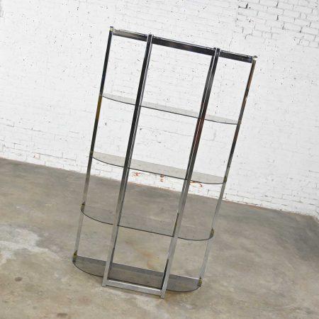 Mid-Century Modern Bow Shape Chrome Etagere 5 Smoked Glass Shelves Style of James David or DIA