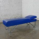 Mid-Century Streamline Modern Industrial Royal Blue & Vinyl Chrome Adjustable Chaise Daybed