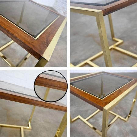 Modern Brass Plated Dark Wood & Smoked Glass Rectangle End Table by Thomasville Furniture Ind., Style of Milo Baughman