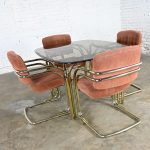 Modern Double Tube Brass Plate Cantilever Chairs & Smoked Glass Top Table by Douglas Furniture
