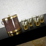 Vintage Brown Vinyl & Gold Kraftware Ice Bucket and 6 Drinking Glasses Style of Russel Wright, a Set