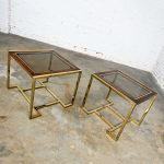 Pair of Modern Brass Plated Dark Wood & Smoked Glass Rectangle End Tables 2 Sizes by Thomasville Furniture Ind., Style of Milo Baughman