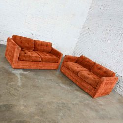 Vintage Modern Tuxedo Style Love Seats in Geometric Rust Fabric by Pem-Kay Furniture Co. a Pair