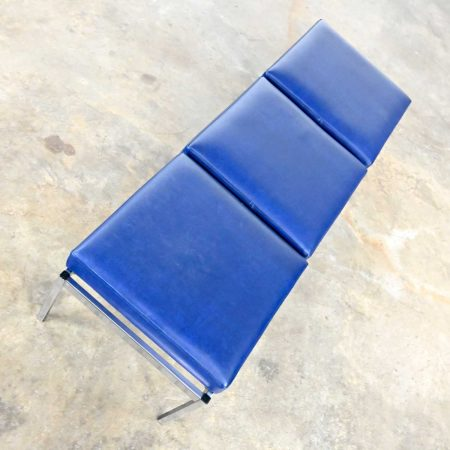 MCM Royal Blue Vinyl & Chrome Three Cushion Bench by Globe Business Furniture Style of Steelcase