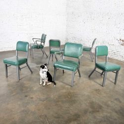 Streamline Industrial Modern Metal & Green Vinyl Faux Leather Dining Chairs Style 145 by Steelcase set of 6