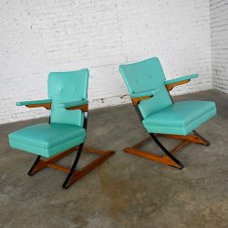 Mid-Century Modern Turquoise Vinyl Faux Leather Spring Rockers Style of McKay Furniture and Rock-A-Chair a Pair
