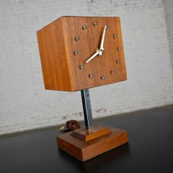 Mid-Century Modern Walnut & Chrome Cube Clock Lamp on Stand by V. H. Woolums Style of Howard Miller Clocks