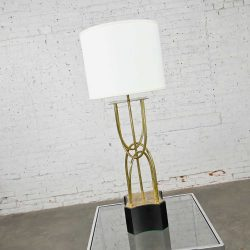 Mid-Century Modern Brass Looped Tube Table Lamp with Shade