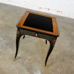 Drexel Heritage ET Cetera Collection Chinoiserie Black Painted & Burl & Ormolu End Table