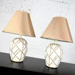 Mid-Century Pair White Chinoiserie Ginger Jar Lamps Gold Frosting Style Applied Bamboo Design