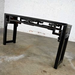 Asian Chinoiserie Distressed Black Finish Alter Style Sofa Console Table