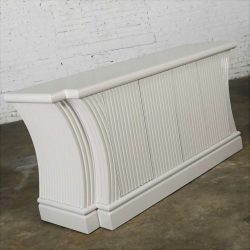 Art Deco Revival Custom Fluted Off White-Oyster Gray Console Cabinet Buffet