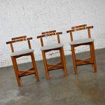 Gangso Mobler Scandinavian Modern Teak Counter Height Barstools Set of 3