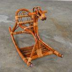 Mid-Century Modern Stylized Rattan Rocking Horse