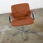 Steelcase Chrome & Original Brown Hopsack Upholstery Swivel Chair Model #454 Style Charles Pollock