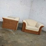 Rattan Wicker Pair of Oversized Lounge Chairs Manner of Michael Taylor