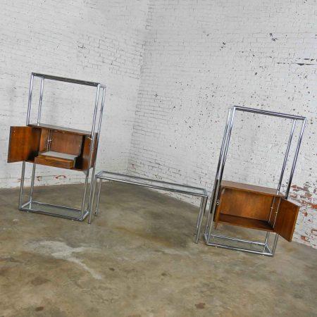 MCM Chrome & Walnut Veneer Entertainment Display Cabinet or Room Divider 3 Piece Unit by Lane Furniture