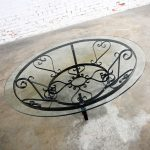 Vintage Rustic Hand Wrought Iron Round Coffee Table with Glass Top