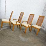 American of Martinsville Campaign Light Wood & Cane Dining Chairs 2 Arm & 2 Side, Set of 4