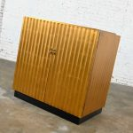 Vintage Modern Art Deco Revival Gold Leaf or Gilded Fluted Tall Console Bar Cabinet
