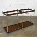 Hollywood Regency Campaign Chinoiserie Style Faux Bamboo Cane & Glass Top Console Sofa Table