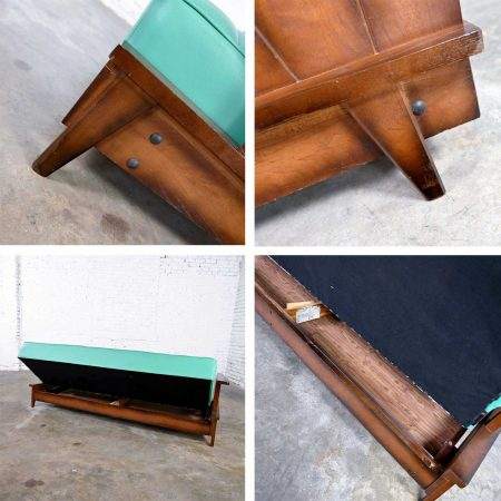 A Brandt Ranch Oak Style Turquoise Vinyl Convertible Sofa Daybed by Economy Furniture