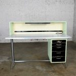 Industrial Mid-Century Modern Distressed Stand Up Desk Worktable by American Optical Consul Furniture Line