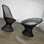 Mid-Century Modern Spun Fiberglass Outdoor Chairs Mismatched Pair 1 Slipper & 1 Hoop Chair