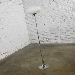 Mid-Century Modern Chrome Floor Lamp with Frosted Glass Mushroom Globe by Laurel Lamp Co.