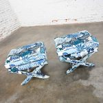 Billy Baldwin Style X Base Benches or Foot Stools with Schumacher China Blue Chiang Mai Dragon Print Fabric