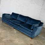 Vintage Baker Lawson Style Low Profile Sofa in Bellagio Cobalt Fabric by Fabricut