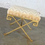 Currey & Co. Circe Ottoman Bench Stool Greek Key Design with Lee Jofa Holland Flame Stitch Porcelain Velvet