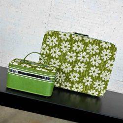 Vintage Samsonite Fashionaire Flower Power Luggage Beauty & Pullman Cases 2 Pieces Original Boxes