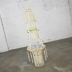 Vintage BoHo Chic White Cord Macramé Hanging Table with Round Glass Top & Green Pot