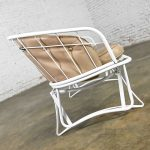 Mid-Century Modern Homecrest White Painted Metal Glider & Taupe Vinyl Cushions & Button Detail
