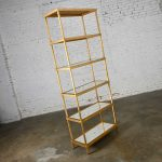 Hollywood Regency Modern Chelsea House Gold Finished Tall Etagere Mirrored Shelves