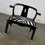 Vintage Ming Style Black Lacquer & Brass Low Chair After James Mont in Scalmandre El Morocco Espresso Fabric