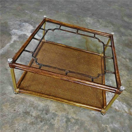 Hollywood Regency Campaign Chinoiserie Style Faux Bamboo Cane & Glass Top Console Coffee Table