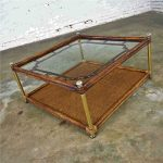 Hollywood Regency Campaign Chinoiserie Style Faux Bamboo Cane & Glass Top Coffee Table