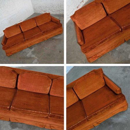 Mid-Century Hollywood Regency Rust Colored Brushed Chenille Lawson Style Sofa Walnut Trim