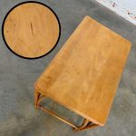 Heywood Wakefield Rattan & Maple Writing Desk Paired with Low Back Chair by Sovereign Furniture