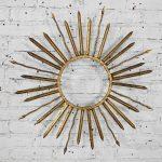Brutalist Hollywood Regency Mid-Century Gilt Metal Sunburst or Starburst Wall Décor