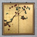 Asian Chinoiserie Framed Gold Leafed Paper Two Panel Screen or Wall Hanging