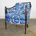 Vintage Baker Deco Lounge Chair by Barbara Barry in Williamsburg by Schumacher Waverly Tucker Resist Batik Linen Fabric Blue & White