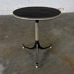 Neo-Classic Olive Oval Side Table by Rose Tarlow for Melrose House in Ebony Black and Ivory White