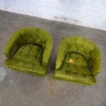 Hollywood Regency Avocado Green Crushed Chenille Button Tufted Barrel Chairs a Pair